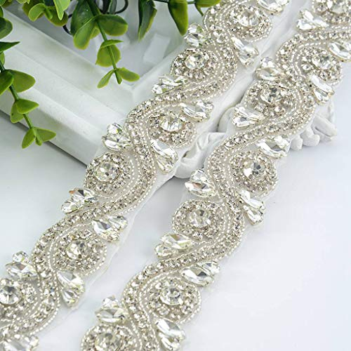 Wedding Rhinestones Pearls Applique, Silver Rhinetones Trim for Dress, Sash, Bridal Applique, Crystal Beaded Applique, Wedding Rhinestone Applique