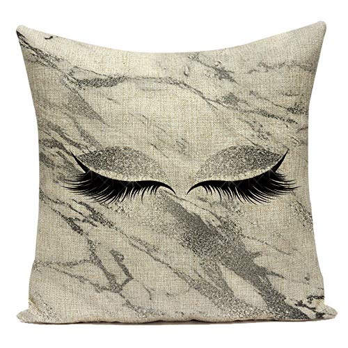 YIBINGLI Eyelashes Cushions Cover Patterns Pillow Case Cushion Cases Girl Sofa Pillows Covers 50×50CM with pillow core