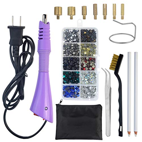 Tongcloud Hotfix Applicator,Rhinestone Hotfix Applicator Tool DIY Hot Fix Rhinestone Applicator Wand Setter Tool Kit with 7 Tips, Tweezers and Brush Cleaning kit and Colorful Rhinestones (Purple)