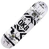 LVSEDE Skateboard Arce De 7 Capas Tabla Skate 80 * 20Cm Antideslizante Y Amortiguador Monopatines Puede Soportar 150 Kg Usuarios 4 Ruedas Adulto Joven Monopatines-Blanco