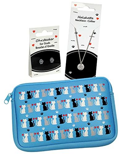 happyROSS Coffret cadeau chat | Ensemble composé d un sac en néoprène, d un collier et de boucles d oreilles avec de jolies pattes de chat | Cadeau pour les filles et les amoureux des chats