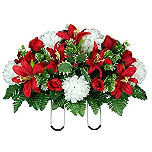 sympathy silks artificial cemetery flowers – realistic – outdoor grave decorations – – non-bleed-colors, and easy fit – white mum, red lily, red roses – memorial saddle for headstone arrangement silk flower arrangements