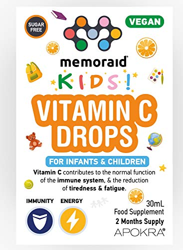 Vitamin C Drops - Vegan - 60 Days Supply – 30mL – Preservative Free and Sugar Free Vitamin C for Kids - VIT C 25mg per 0.5mL | Memoraid Kids