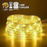 LED Lichterschlauch außen, 10M 8Modes Warmweißes LED-Lichtband mit Fernbedienung, wasserdichte...