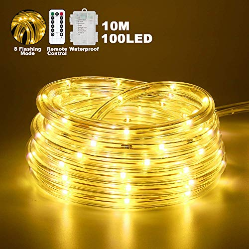 LED Lichterschlauch außen, 10M 8Modes Warmweißes LED-Lichtband mit Fernbedienung, wasserdichte 100-LED-Röhrenbeleuchtung für Gartenparty, Hochzeiten, Weihnachtsdekor (warmweiß)