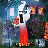 Dreamone 9 Foot Halloween Inflatables Flashing Flame Ghost for Halloween Inflatable Outdoor Decorations Yard Garden Party Decorations