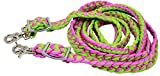 CHALLENGER Horse Knotted Braided Roping Western Barrel Reins Nylon Pink Lime Green 60790