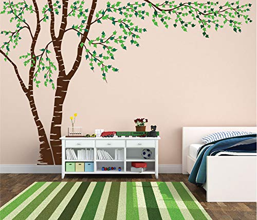 """Birch Tree Forest Canopy Blowing Leaves Vinyl Wall Decal #1376 (Brown Tree - Green Leaves, 96"""" Tall x 144"""" Wide, Left to Right)"""