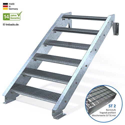Außentreppe 6 Stufen 80 cm Laufbreite - ohne Geländer - Anstellhöhe variabel von 100 cm bis 120 cm - Gitterroststufe ST2 - feuerverzinkte Stahltreppe mit 800 mm Stufenlänge als montagefertiger Bausatz