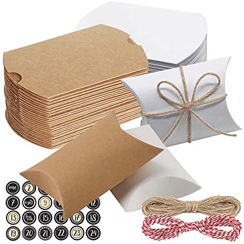 VGOODALL 24 STK. Geschenkschachtel, Kraftpapier Geschenktüten mit Juteschnur Kissenschachtel für Bonbons Gastgeschenke Hochzeit Kinder Geburtstag Party
