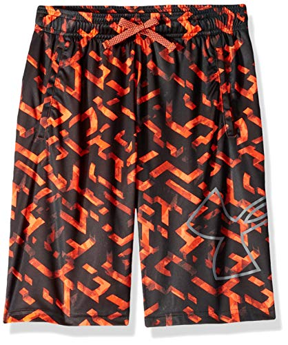 Under Armour Boys' Renegade 2.0 Printed Shorts , Orange Glitch (882)/Mod Gray , Youth X-Large