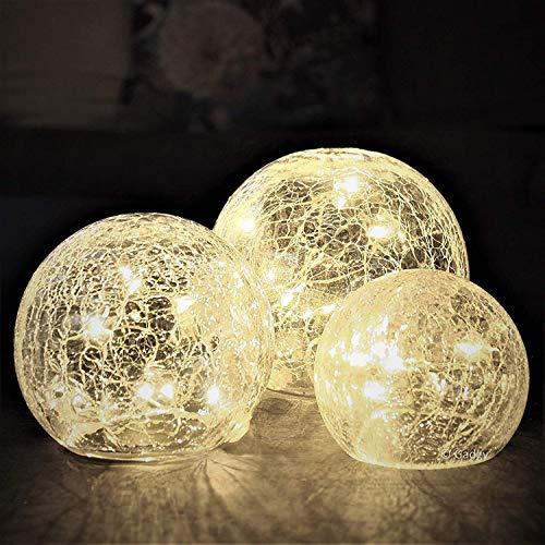 Gadgy  Set di Sfere di Cristallo Craquelé | Globi dal Diametro di 8, 10 e 12 cm| Luci Decorative da Tavolo per Interni | Stringa LED Bianco Caldo | A Batteria | Lampada Notturna Palla Luce Mood Light