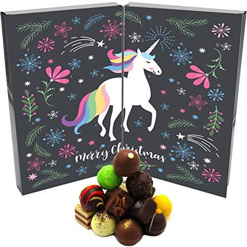 Hallingers 24 Pralinen-Adventskalender, ohne Alkohol (300g) - Unicorn (Buch-Karton) - zu Weihnachten Adventskalender