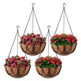 Lamptti 4 cestini per fioriere da Appendere in Metallo da 35 cm con 4 Fodere in Cocco, Set di vasi da Fiori da Appendere in Filo Tondo Porta Piante da Appendere in Metallo per Patio Balcone Giardino