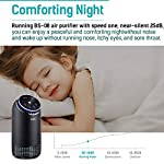 """PARTU HEPA Air Purifier for Home Up to 160ft²- Smoke Air Purifier with 7 Colors Nightlight, Efficient Clear Up Smoke… 9 🍃Efficient Three-Stage Filtration System🍃 PARTU Air Purifier features a three-stage filtration system. This comprises a pre-filter, a HEPA filter and an activated carbon filter, powerful enough to clear up pollen, smoke, odor, pet dander, filters particles as small as 0.3 microns and air pollution of PM 2.5. Anion neutralize pollutants such as dust in the air. 🍃Alternative Iridescent Night Light🍃 The alternative lights are very mood enhancing. It can act as night lights if you have you air purifier on at night. And you can choose and keep one color you like most. If no need the light, just press light button for 3 seconds to turn off. 🍃Ultra-Silent 3 Fan Speeds Setting🍃Partu air purifier with true hepa filter Noise Level-25-48dB, even on the highest setting, the """"noise"""" can be qualified as static background noise, will not distrub you during work, study and sleep. 3 different levels fan speeds can be selected according to the actual air quality and space for energy saving."""