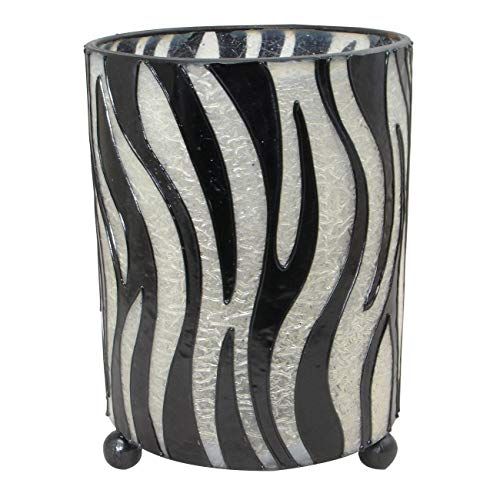 Stoneage Arts Handmade Hurricane Lantern Zebra Pattern Candleholder (Indonesia)