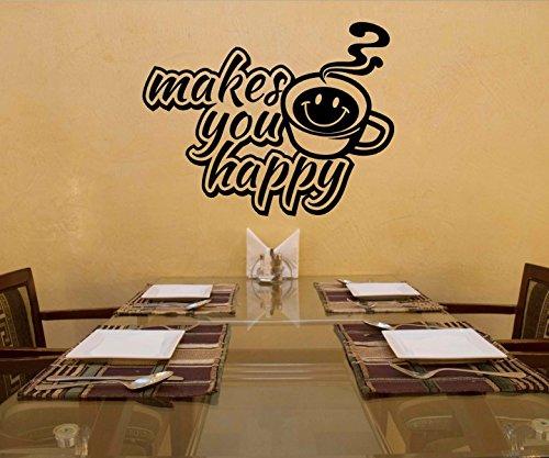 Wandtattoo Kaffee make you happy Coffee Spruch Cafe Aufkleber Küche Wohnzimmer Kaffeebohnen Tasse 1D330, Farbe:DunkelRot glanz;Breite vom Motiv:40cm