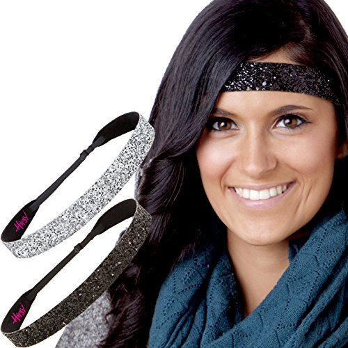 Hipsy Adjustable NO SLIP Wide Bling Glitter Headbands for Women Girls & Teens Black Duo Pack (Black & Silver)