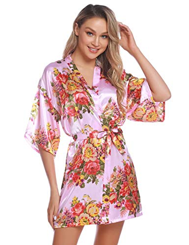 Aiboria Bata Kimono Mujer satén Floral Albornoces de Manga Corta para Dama de Novia