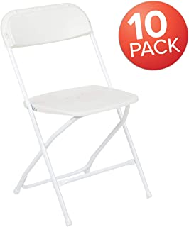 Flash Furniture 10 Pk. HERCULES Series 650 lb. Capacity Premium White Plastic Folding Chair