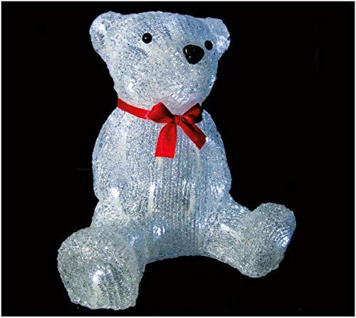 PREQU Orsetto Orso Luminoso Teddy Bear 27 cm Luci Natale 40 Led Luce Fredda IP44
