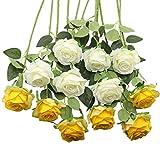 Decpro 12 rosas artificiales, 19.7 pulgadas, tallo largo de seda, flores falsas para ramos de novia, boda, hogar, fiesta, oficina, hotel, centros de mesa, arreglos florales (blanco y amarillo)
