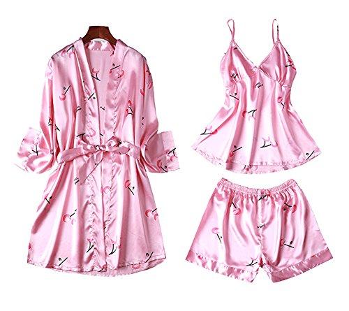 Dragon Troops Traje de Tres Piezas Pijama de Verano para Mujer, Kimono de Estilo japonés, T5