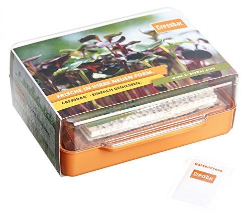 Cressbar® Starterkit orange - 3 Cressbar Kresseschalen mit 24 Cresspads aus Gartenkresse, Radieschen, Rucola, Senf