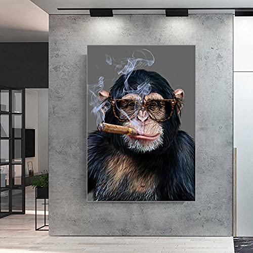CloudShang Animal Arte Gracioso Arte Fumar Mico Pared Arte Impresiones Gracioso Mono Fumar Fotos Moderno Salon Tienda Bar Mico Poster Cuadros I02149