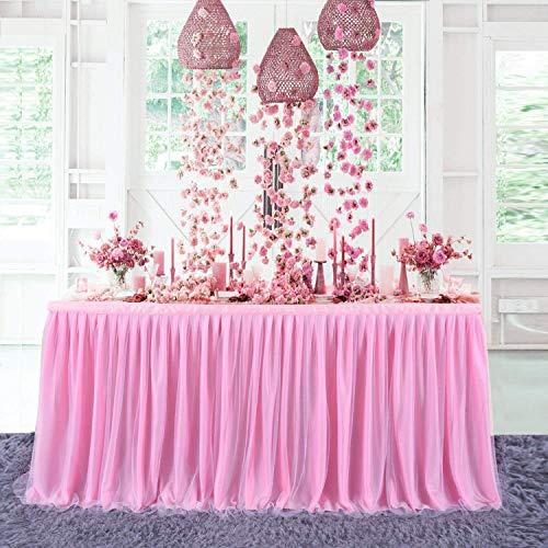 NSSONBEN Rosa Tutu Gonna da Tavolo Tulle Gonne da Tavolo per Feste Matrimoni Festa di Compleanno Bambino Doccia Decorazione 3Yard/9ft/L275cm*H77cm