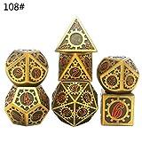 ATATMOUNT Set di Dadi in Metallo D&D Set di Dadi in poliedrico in Metallo DND Giochi di Ruolo Giochi di società D4 D6 D8 D10 D12 D20