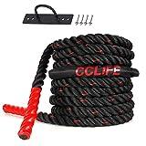 CCLIFE Battle Ropes Schlachtseil 9m 12m 15m Ø38mm Trainingsseil Fitnessseil Sportseil Battle Rope für Fitnessstudio Muskelaufbau, Größe:9m schwarz-rote Seile, mit Halterung
