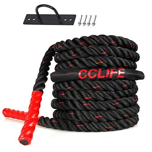 CCLIFE Cuerda de Batalla Entrenamiento Battle Rope Cuerda Batalla Crossfit 9m 12m 15m Diámetro 38mm, Tamaño:9M Cuerda Batalla Negra con Roja