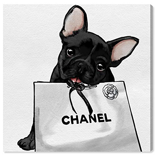 The Oliver Gal Artist Co. Frenchie Glam Bag | Contemporary Premium Canvas Art Prints, 12 in x 12 in, Black and White