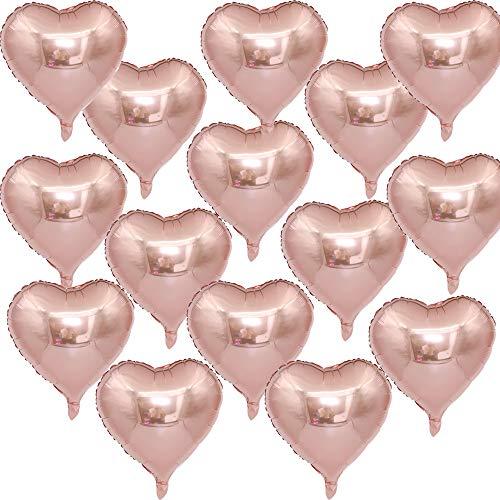 Amaoma 50 Piezas Globos Metalizados Oro Rosa Globos Corazon Globos de Helio Globos San Valentin Corazón Globos Decoración para Bodas Cumpleaños San Valentín Decoración Suministros 18 Pulgadas
