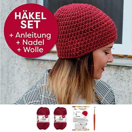 myboshi Häkel-Set Mütze Chiba | aus No.1 | Anleitung + Wolle | mit passender Häkelnadel | Bordeaux
