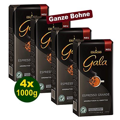 Eduscho Gala Espresso Grande Aromatisch & Kräftig 4x 1000g (4000g) Ganze Bohnen