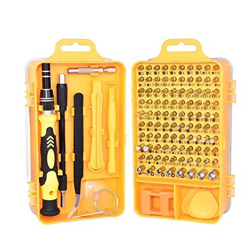Juego de destornilladores de 110 piezas para reparación de electricista y desmontaje y reparación de teléfonos móviles (color amarillo