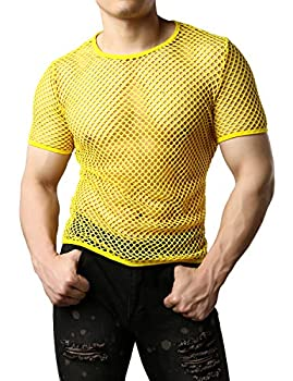 JOGAL Men s Mesh Fishnet Fitted Short Sleeve Muscle Top Small WG02 Yellow