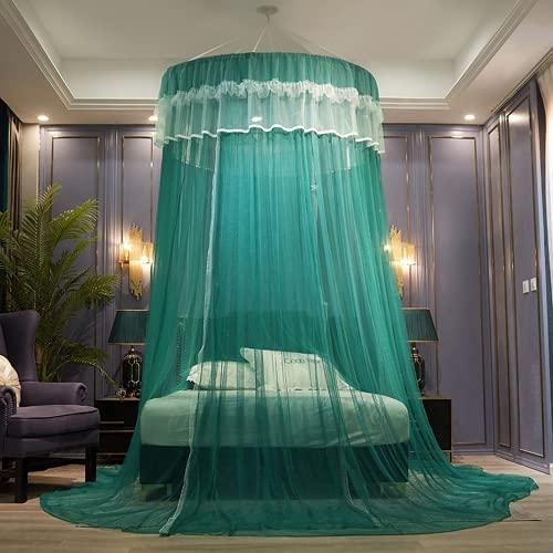 Sänghimmel för flickor barn garn nät hängande gardin, baby inomhus utomhus pojkar och flickor lek lästält rund kupol barnrum dekoration (F04, säng: 200 x 220 cm)