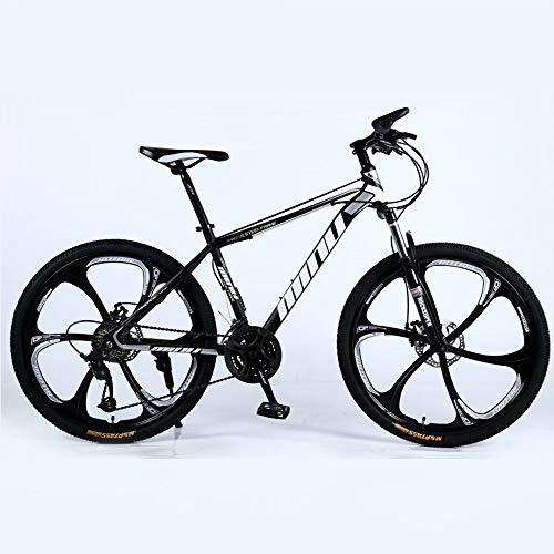 Novokart-Mountain Bike Unisex, Bicicletas montaña 21/24/27 Pulgadas, MTB para Hombre, Mujer, con Asiento Ajustable, Frenos de Doble Disco, Negro, 6 cortadores Rueda, 27-Speed Shift
