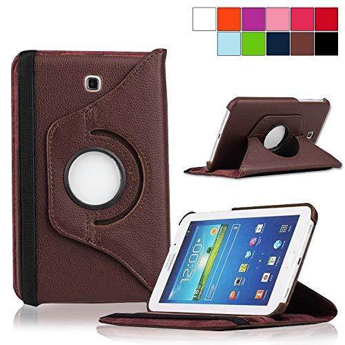 COOVY® Cover für Samsung Galaxy TAB 4 7.0 SM-T230 SM-T231 SM-T235 Rotation 360° Smart Hülle Tasche Etui Case Schutz Ständer   braun