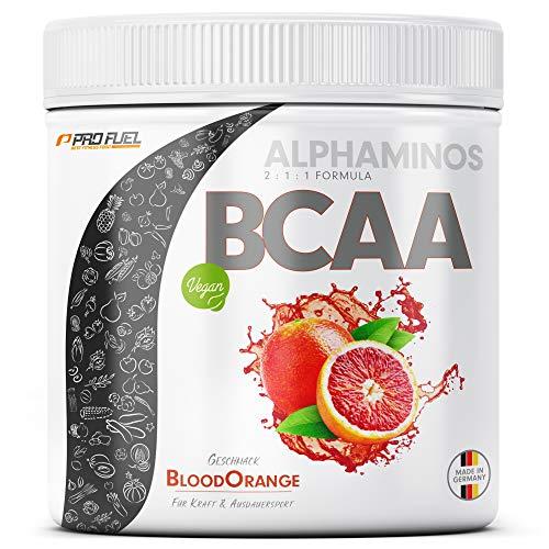 BCAA Pulver 300g - TESTSIEGER - ALPHAMINOS BCAA 2:1:1 - Das ORIGINAL von ProFuel | Essentielle Aminosäuren | Unfassbar leckerer Geschmack (Blutorange)