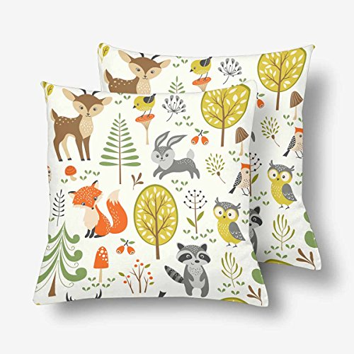 InterestPrint Summer Forest Cute Woodland Animal Tree Mushroom Berry Throw Pillow Covers 18x18 Set of 2, Pillow Cushion Cases Pillowcase for Home Couch Sofa Bedding Decorative