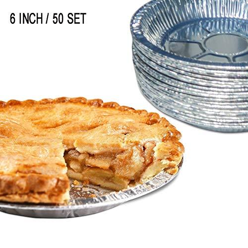 Aixin Lot de 50 moules à tarte en aluminium de qualité supérieure Moules jetables en aluminium pour tartes et quiches.  6' inch (50pcs)
