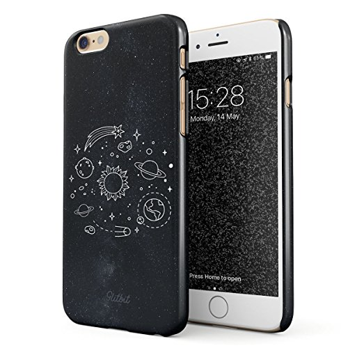 Glitbit Hülle Kompatibel mit iPhone 6 Plus / 6s Plus Cute Solar System Galaxy Stars Planet Earth Moon Universe Space Welt Sterne Universum Dünn Robuste Rückschale aus Kunststoff Handyhülle Hülle Cover