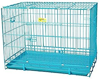 Pet Guard Dog Cage Blue Poweder Coated 36 Inch Iron Cage with Removable Tray for Dog(Large)