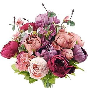 Silk Flower Arrangements FiveSeasonStuff Vintage Artificial Peonies Silk Flowers and Hydrangeas for Wedding Bridal Home Décor – Beautiful Floral Centerpiece Arrangement Decoration with 2 Bouquets (Cheerful Medley)