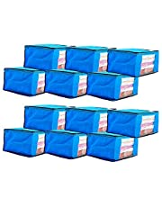 Amazon Brand - Solimo 12 Piece Non Woven Fabric Saree Cover Set with Transparent Window, Large, Blue