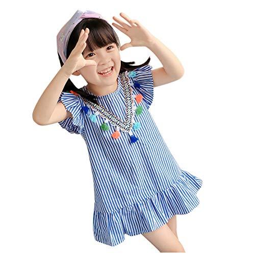 Vestido de Princesa Niñas Bebés Mangas Corto de Flores Rayas, 1-6 Años...